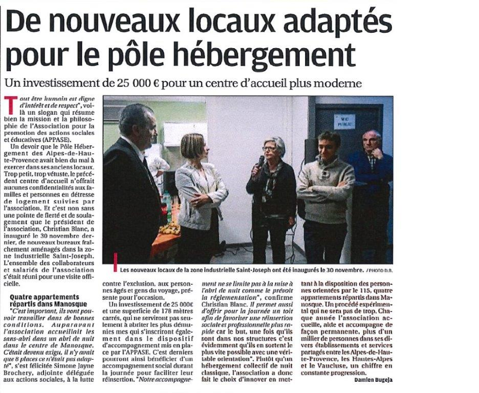 La Provence inauguration CHRS CAARUD Manosque 22 12 2016